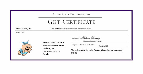 Coupons becca 39 s babysitting for Babysitting gift certificate template